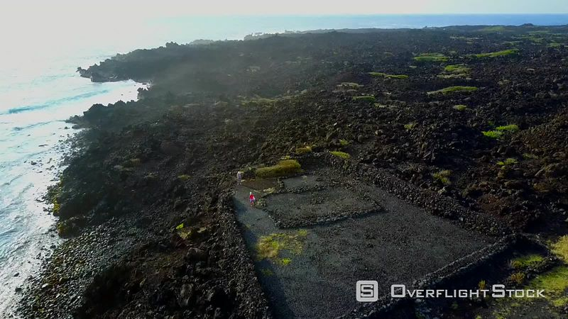 Punaluu, Ninole Cove, Kaieie Heiau, Black Sand Beach, Kau, Filmed by Drone, Big Island, Hawaii, Usa