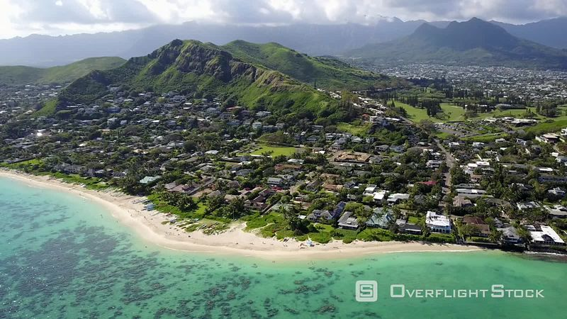 Lanikai Beach, Kailua, Filmed by Drone, Oahu Island, Hawaii, United States