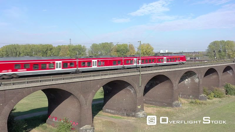 Train Passing over a Viaduct in Germany
