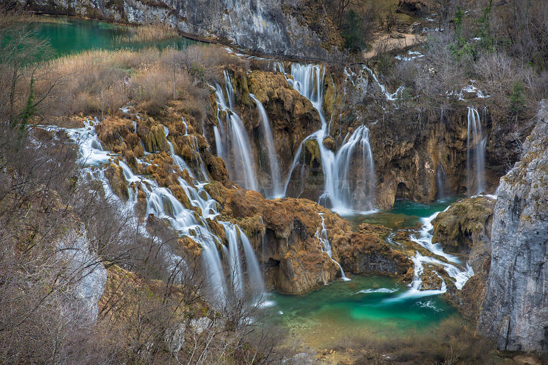 Series of waterfalls known as 'Sastavci' that cascade between mountain lakes, Plitvice Lakes National Park, Croatia. January 2015.