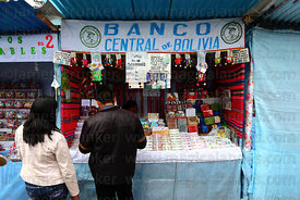 Bolivian Central Bank stall selling miniature bank notes, Alasitas festival, La Paz, Bolivia