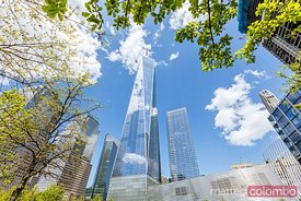 One World Trade Center at daytime in spring, Manhattan, New York, USA