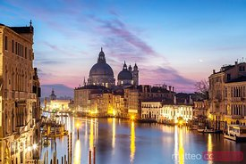 Salute church and Grand Canal at sunrise, Venice, Italy