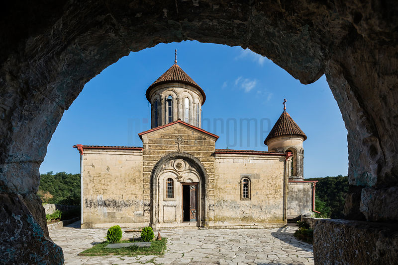 Exterior View of the Motsameta Monastery Framed in an Arch