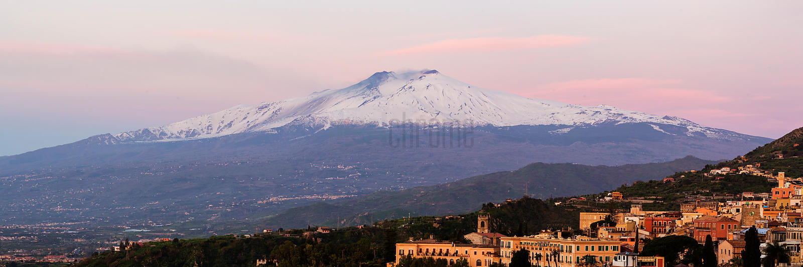 View of Mount Etna at Dawn