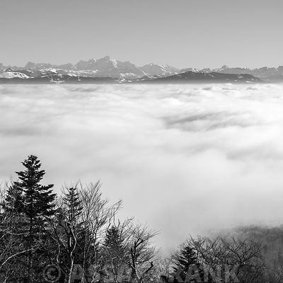 Alpine view above clouds