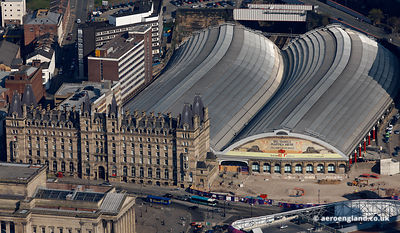 aerial photograph of Liverpool Lime Street Station