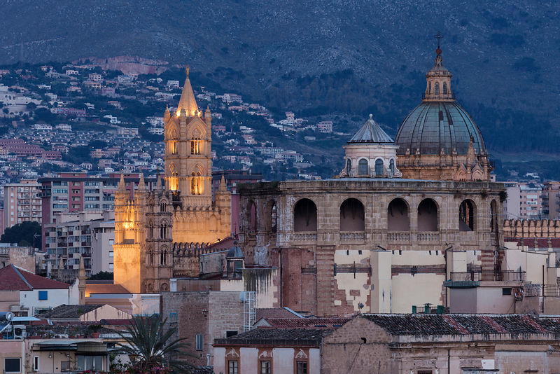 Elevated View of the Palermo Skyline Looking Towards the Cathedral from Via Roma