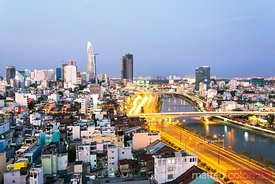 Saigon (Ho Chi Minh City) skyline at dusk, Vietnam