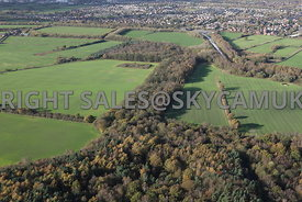 Farming Landscape aerial photograph of Fields divided by Trees, Hedgerows and Woodlands