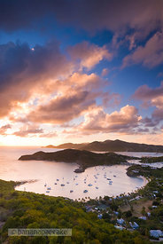 View of English Harbour at sunset from Shirley Heights, Antigua, Leeward Islands, Caribbean