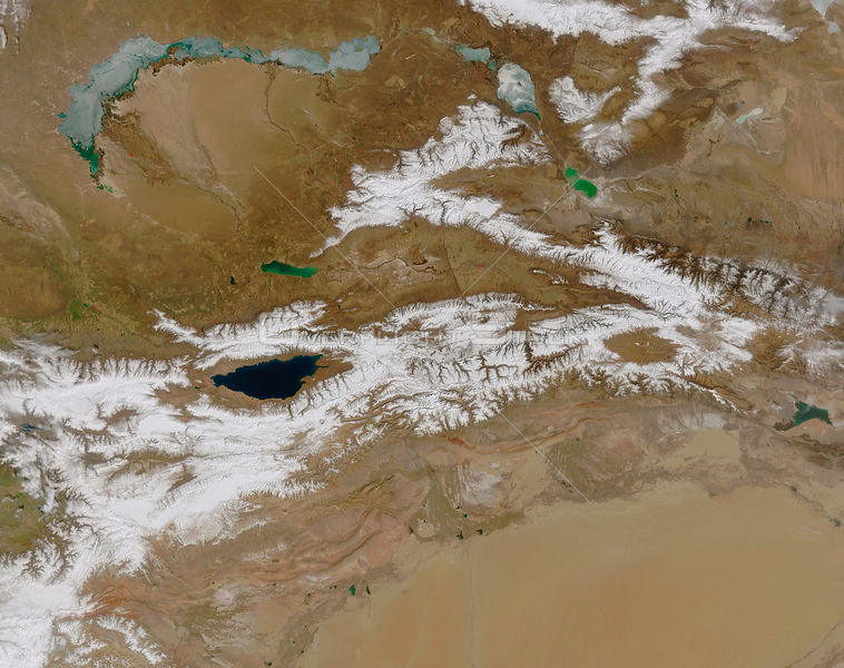 EARTH Central Asia -- ca. 2003 -- This satellite image shows the Tien Shan mountain range in Central Asia and the Taklamakan Desert