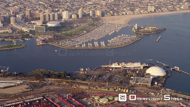 Aerial View Of Ocean Liner Queen Mary With Long Beach Marina And Downtown In Background, RED R3D 4k California