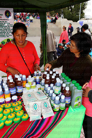 Woman shopping at stall selling alternative medicines at trade fair promoting products made from coca leaves , La Paz , Bolivia