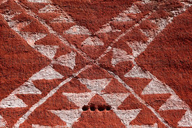 Detail of patterns of coloured chulpa in Rio Lauca valley , Bolivia