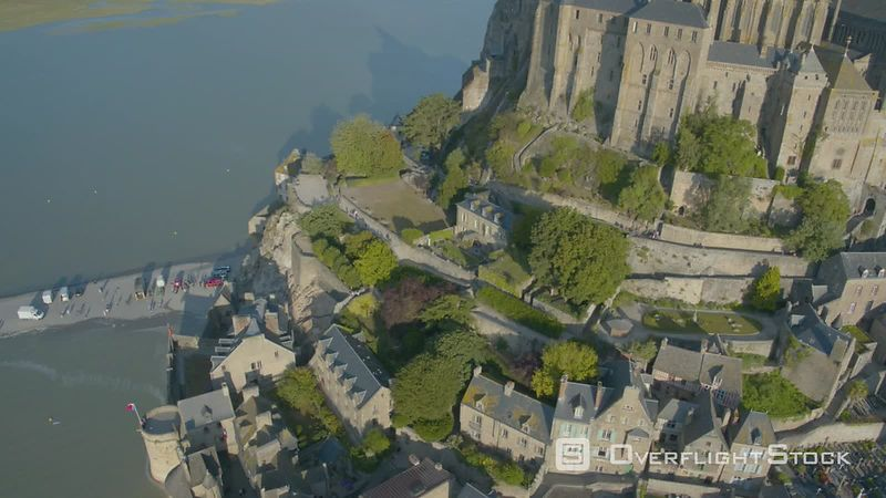 The Mont Saint-michel by High Tide, Filmed by Drone at Sunrise, Normandy, France