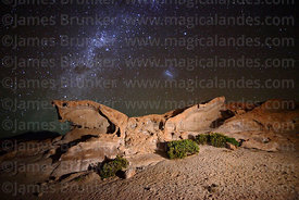Eroded volcanic rock formation, Milky Way and Large Magellanic Cloud (LMC), Nor Lípez Province, Bolivia