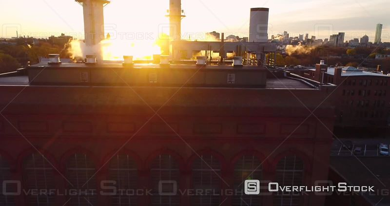 Reveal Of Boston Through Powerhouse Steam At Golden Hour Massachusetts