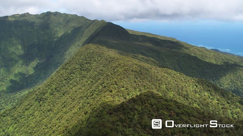 Flight along forested spine of a ridgeline in The Valleys area, Hawaii.