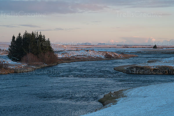 The Ranga river near Hella, Iceland after sunset