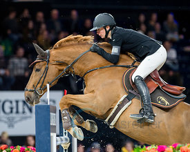 Zurich, Switzerland, 26.1.2018, Sport, Reitsport, Mercedes-Benz CSI Zurich - Longines Grand Prix. Bild zeigt Rachel BAECHLER (SUI) riding RUBIS TAME...26/01/18, Zurich, Switzerland, Sport, Equestrian sport Mercedes-Benz CSI Zurich - Longines Grand Prix. Image shows Rachel BAECHLER (SUI) riding RUBIS TAME.
