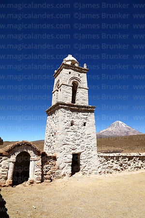 Niche / posa  and restored church belfry at Cotasaya and Sajama volcano, Sajama National Park, Bolivia