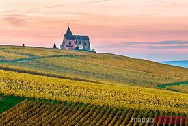 Chavot Courcourt church at dusk, Champagne Ardenne, France