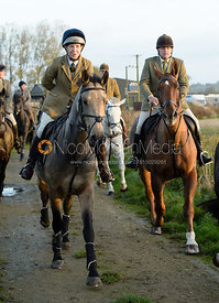 Clare Bell leaving the meet - The Cottesmore Hunt at the kennels 21/10