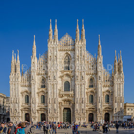 MILAN, ITALY - OCTOBER 30, 2017: Milan Cathedral, Duomo di Milano, in autumn afternoon sunlight.