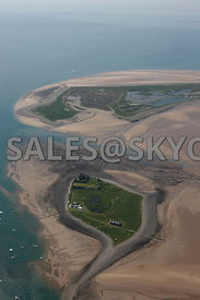 Walney and Piel Island aerial photograph looking from Piel Island Barrow in Furness Cumbria