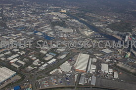 Manchester high level view of Trafford Park Estate