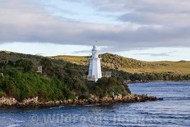 Lighthouse on Bonnett Island, Maquarie Harbour, Tasmania, Australia; Landscape