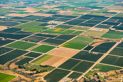 Aerial view of patchwork fields near Roswell, Idaho, USA