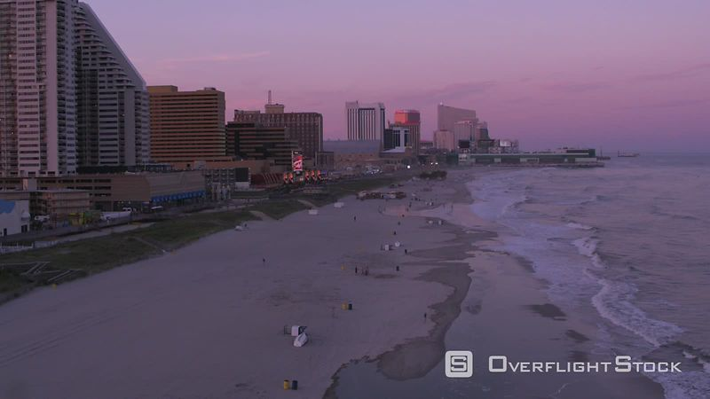 Atlantic City, New Jersey Flying up Atlantic City shoreline at sunset.  Shot with Cineflex and RED EpicW Helium.