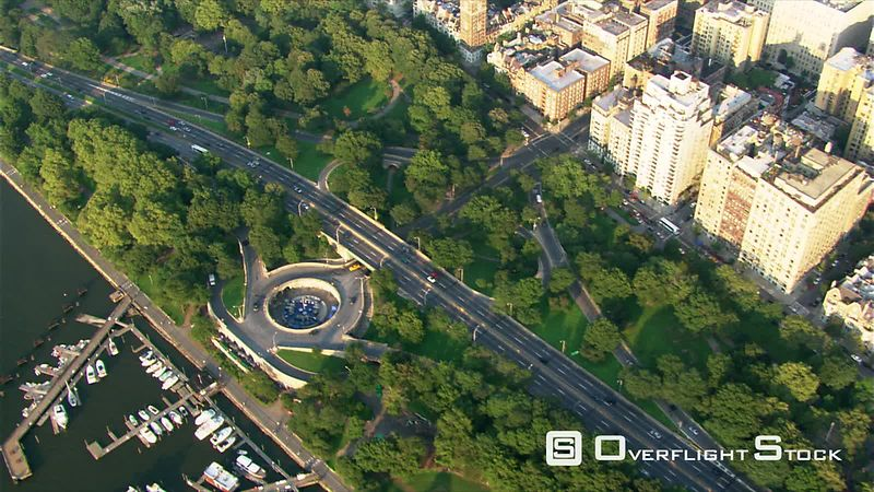 Flight over New York City's Riverside Park, looking east.