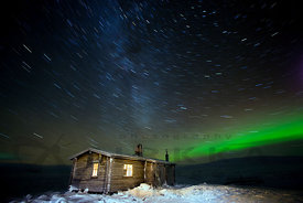 Wilderness Cabin, the Northern Lights, Stars