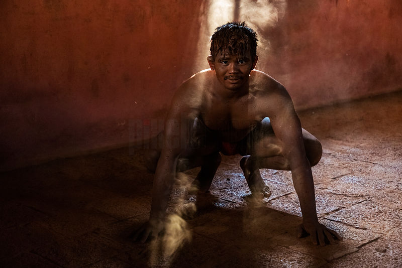 Portrait of a Kushti Wrestler Taking a Break from Pushups