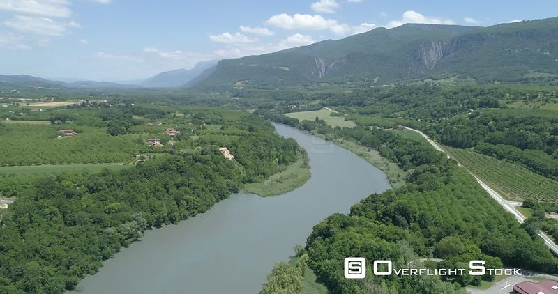River Isere at Beauvoir-en-Roayns, viewed from drone
