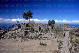 Ruins of small Tiwanaku period temple, Taquile Island, Peru