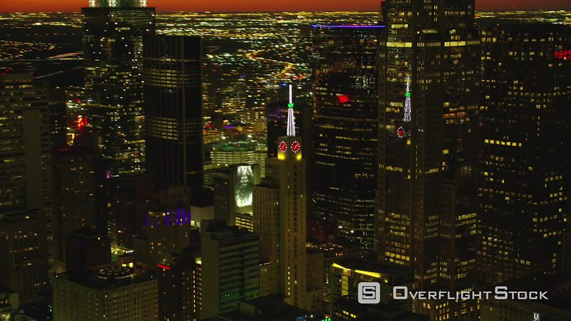 Dallas, Texas Aerial view of city buildings at night