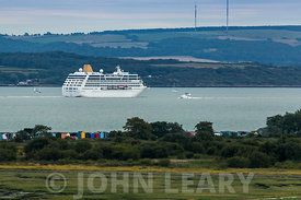 Isle of Wight, the Solent, Calshot Spit and the P and O Cruise Ship Adonia.