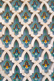 Decoration on the base of the minaret of the Hassan II Mosque, Casablanca, Morocco; Portrait