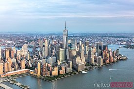 Aerial of lower Manhattan skyline at sunset, New York, USA