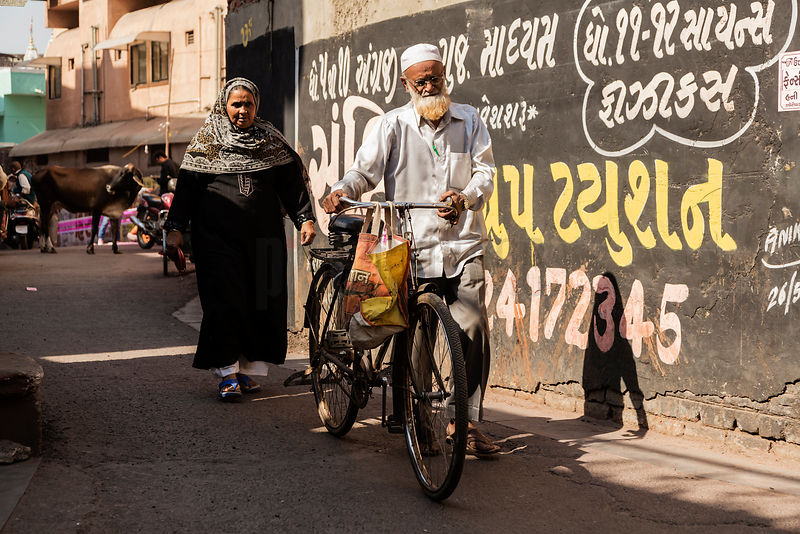 A Couple Walking in the Heritage District of Ahmedabad