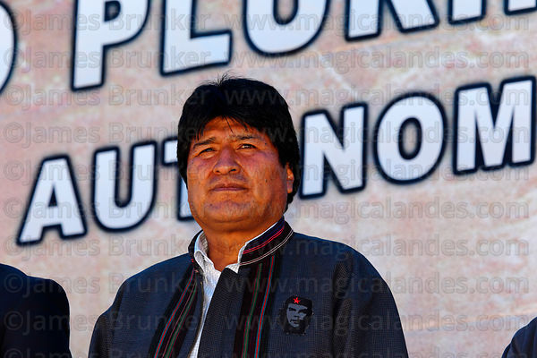 Bolivian president Evo Morales at an event to celebrate Bolivia rejoining the 1961 UN Single Convention on Narcotic Drugs, La Paz, Bolivia