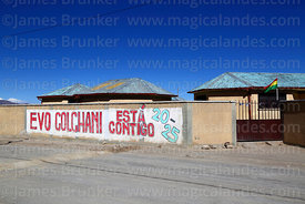 Propaganda showing support for Evo Morales outside school in Colchani, Bolivia