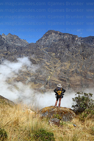 Hiker in the Choquetanga Valley above Pongo, Cordillera Real, Bolivia