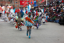 Miss Morenada beauty queen dancing at Oruro Carnival, Bolivia