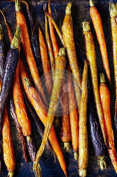 Roasted heirloom carrots baking tray.
