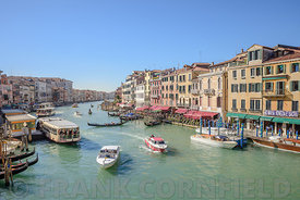 VENICE, ITALY - OCTOBER 23, 2017:  A view of the Grand Canal from the Railto Bridge in Venice, Italy.